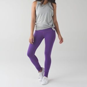 Lululemon Purple Cotton Wunder Under Leggings